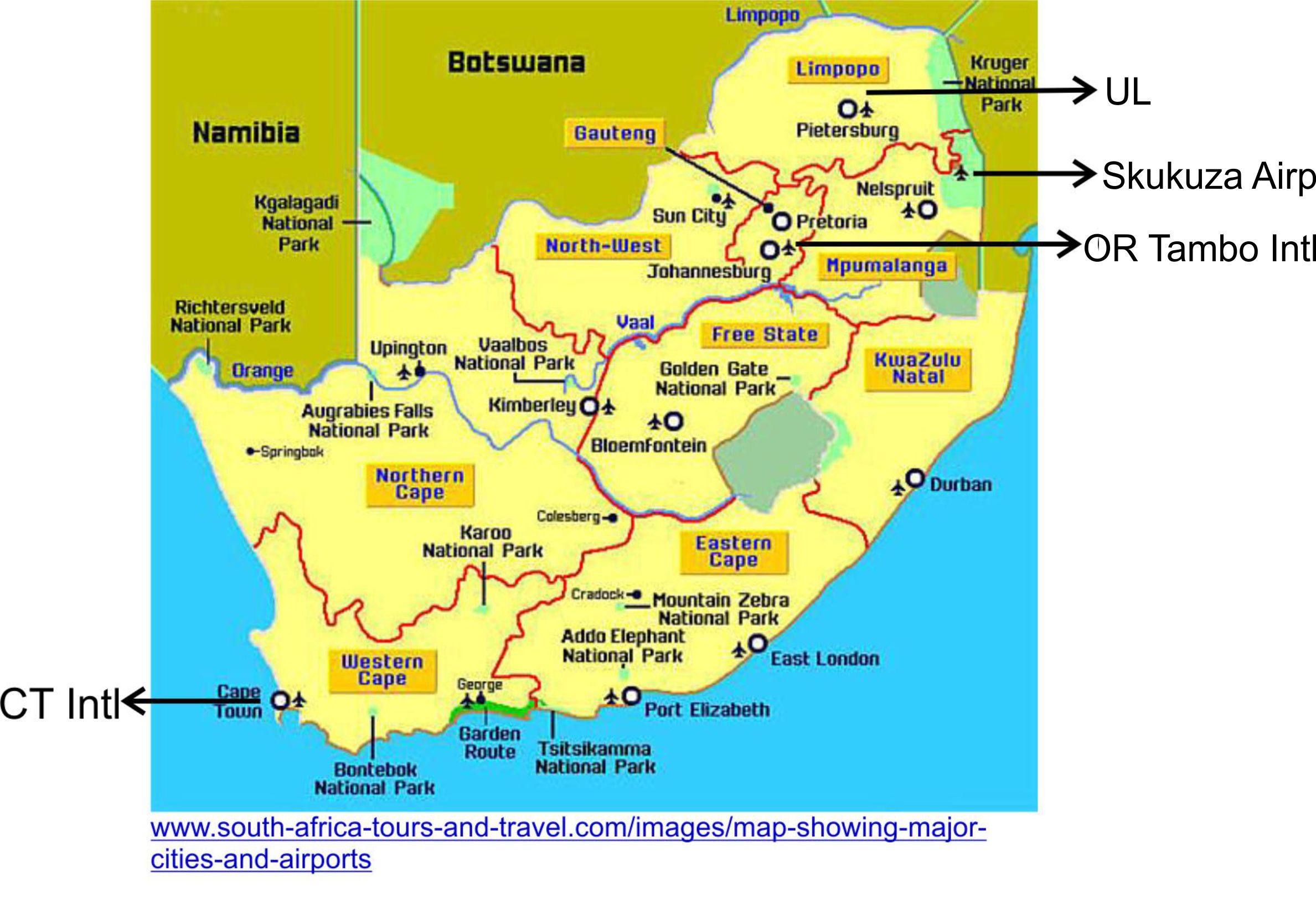 Map SA airports